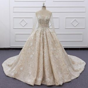 Sheer Long Sleeves Ball Gown Wedding Dress